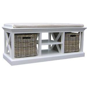 bank mit sitzkissen ablage korb von novasolo halifax be001 schuhregal ebay. Black Bedroom Furniture Sets. Home Design Ideas