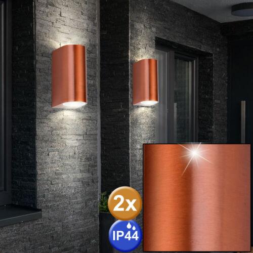 2x Parete Spot Up Down Lampada Esterno Rame Alluminio Illuminazione Giardino Hof