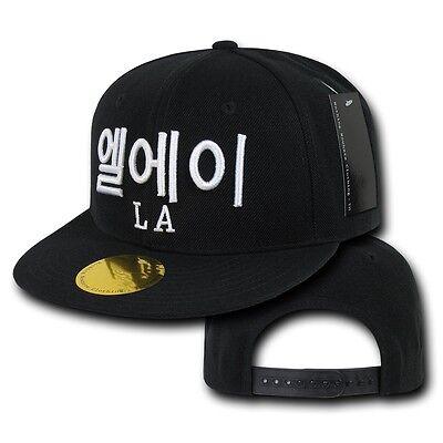 Black Los Angeles LA Korean Letters Flat Bill Snapback Snap Baseball Cap Hat