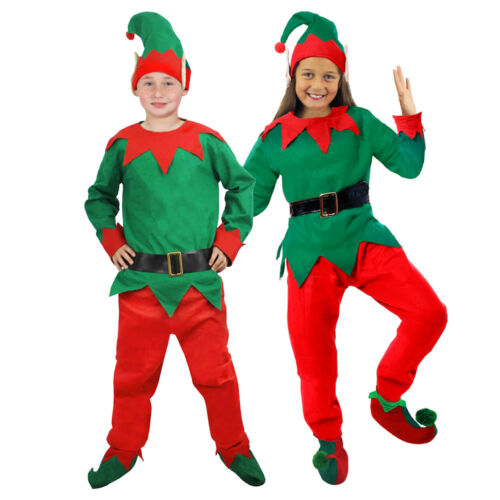 FAMILY CHRISTMAS 5 PIECE ELF COSTUME FESTIVE SANTAS HELPER XMAS FANCY DRESS
