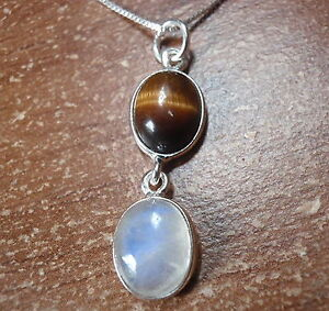 Tiger-Eye-amp-Moonstone-Double-Gem-925-Sterling-Silver-Pendant-Corona-Sun-Jewelry