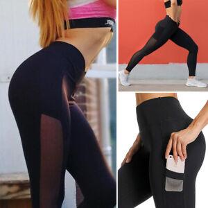 Women-High-Waist-Yoga-Leggings-Mesh-Pocket-Fitness-Sport-Gym-Workout-Pants-X345