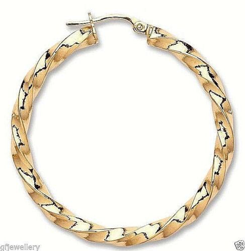 PAIR 9CT HALLMARKED YELLOW GOLD POLISHED SQUARE TWIST 35MM ROUND HOOPS