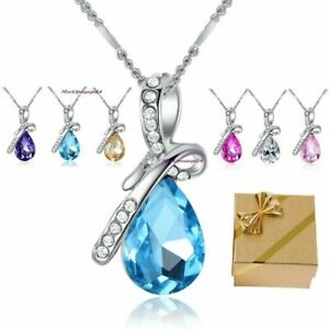 Tropfen-Anhaenger-Halskette-6-Farben-Swarovski-Elements-Glueck-Geschenke-Frauen