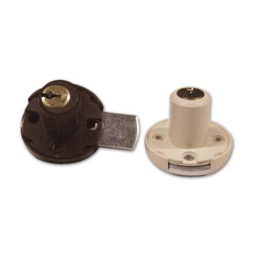 Serratura a Cilindro per Cassetto Meroni Art 3//S col.Bianco  Altezza 20mm Ø17 mm