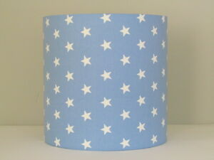 Image Is Loading Handmade Baby Blue White Star 25cm 30cm Lampshade