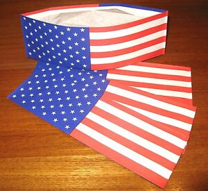 24 ~ FLAG Old Fashion Ice Cream Social Soda Jerk Paper Hats * Party Planner