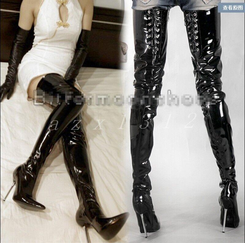 Para mujer en punta de charol altas Stiletto Sobre la rodilla Botas altas charol Elegante Zapatos Talla 5ef8aa