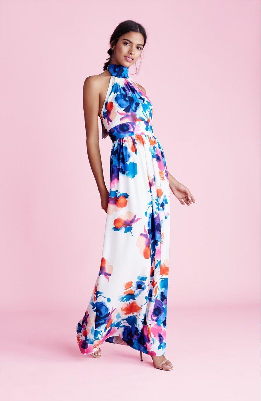 Eliza J Print floral print halter  Maxi Dress ( Größe 16)