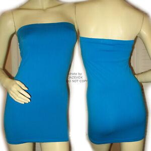 WET-SEAL-Womens-Blue-Sleeveless-Strapless-Micro-Mini-Sheath-Tube-Bodycon-Dress-S