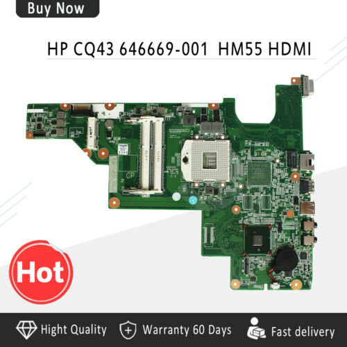 For HP 631 Notebook CQ43 CQ57 430 Laptop Motherboard  DDR3 HM55 CPU 646669-001