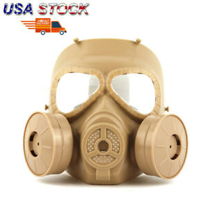 US Double Filter Gas Mask Fan CS Edition Perspiration Dust Eye Face Protector