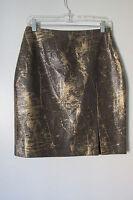 Morgan Cole Gold Brown Snake Front Slit Print Knee-length Skirt Size:s