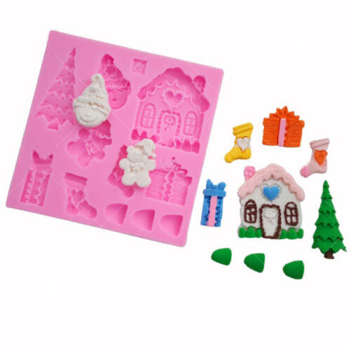 Christmas Chocolate Silicone Mould Cake Tree Snowman Stocking Baking Icing FA