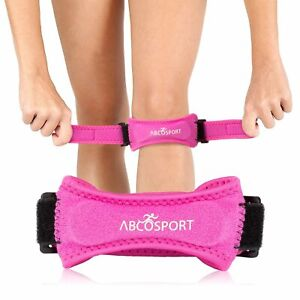 Abco Tech Patella Knee Strap Knee Pain Relief for Hiking Soccer Basketball Pink