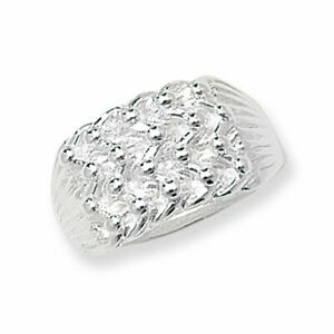 Keeper Ring Five Row Men/'s Solid Sterling Silver Heavy 16.5 grams Gents Ring