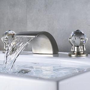 Brushed Nickel Waterfall Bathroom Faucet Crystal Handles Widespread
