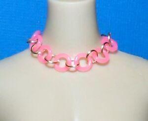 Barbie-Dreamz-NEON-HOT-PINK-amp-GOLD-HOOP-RINGS-Mod-Choker-Necklace-11-034-Doll-Jewel