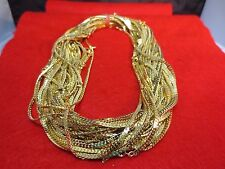 WHOLESALE LOT OF 5 14KT GOLD PLATED 18 INCH 2.5MM HERRINGBONE CHAIN NECKLACE