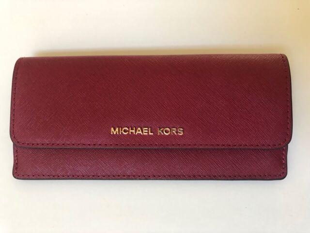 58d639105c2e Michael Kors Jet Set Travel Flat Slim Saffiano Leather Wallet Cherry ...