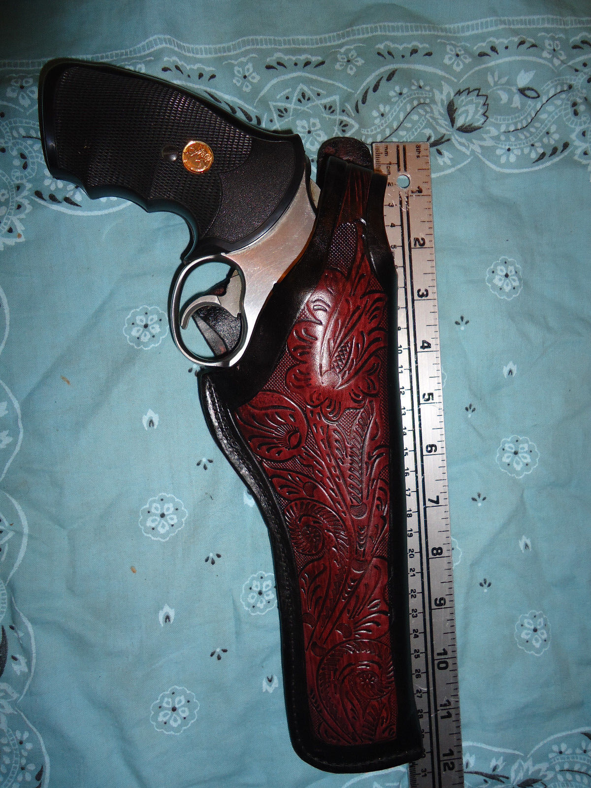 FITS Smith & Wesson 586 686 66 Colt Python 6  Floral Thumb Break Leather Holster