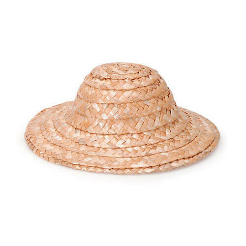 "Lot of 6 Natural Wicker Straw Sun Hats 8/"" for Dolls Bears Darice Crafts 2803-63"