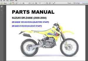 suzuki drz400e drz400 dr z400e parts catalogue manual 2000 2004 ebay rh ebay com DRZ400S Performance Upgrades 04 DRZ 400