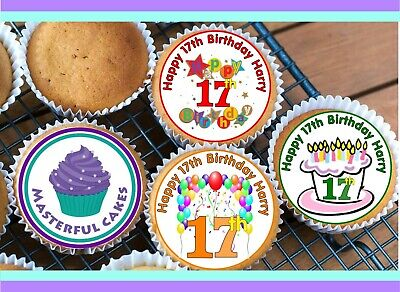 30 PRE-CUT 17th 17 BIRTHDAY PRE-CUT CUP CAKE EDIBLE RICE WAFER PAPER TOPPERS