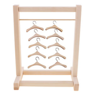 Wooden-10pcs-Clothes-Hanger-Hanging-Shelf-for-12-039-039-Neo-Takara-Blythe-Dolls