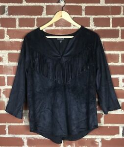 Express-Women-s-Black-Faux-Suede-Fringe-Blouse-Size-Small-59