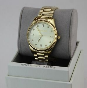 NEW-AUTHENTIC-MICHAEL-KORS-BLAKE-SLIM-GOLD-CRYSTALS-WOMEN-039-S-MK3628-WATCH