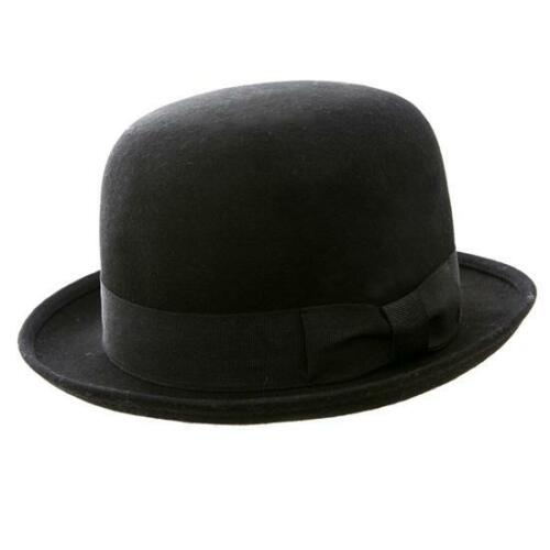 New Unisex 100/% Wool Felt Bowler Hat Black
