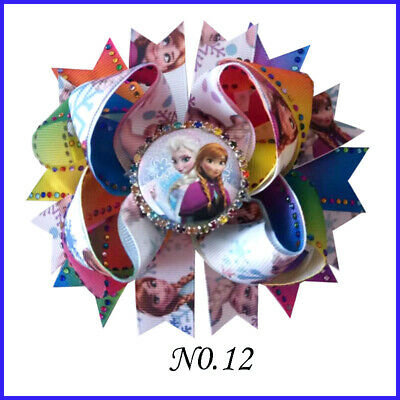 "50 Princess 4.5/"" Rainbow Hair Bow Frozen Anna Elsa Olaf Rapunzel Mermaid Mickey"
