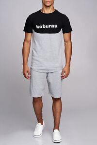 Herren-Sportanzug-T-Shirt-Graue-kurze-Hose-Zweiteiler-Sport-set-John-Kaya