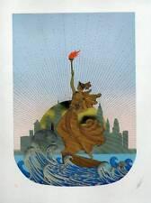 """Original VINTAGE erte Art Deco stampa """"statua della libertà (giorno)"""" FASHION BOOK piattaforma"""