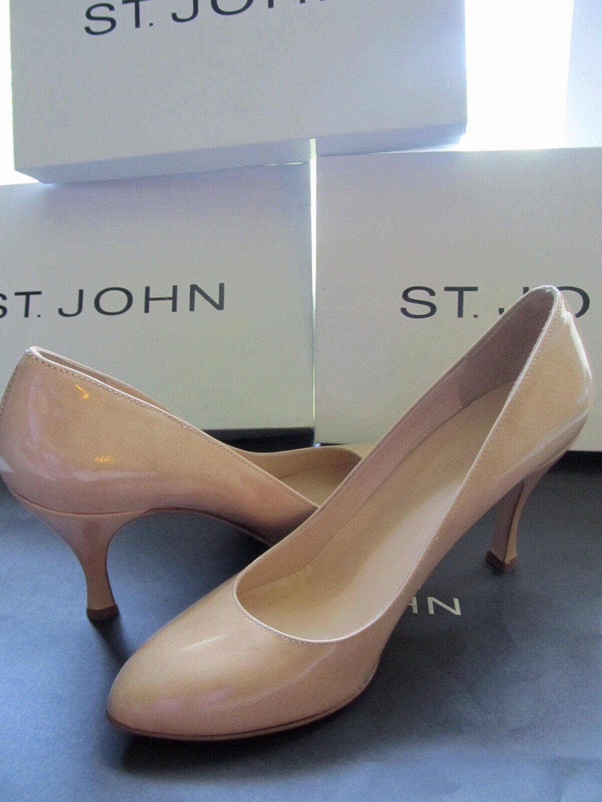 BRAND NEW ST JOHN KNIT SIZE 8.5 M WOMENS SHOES TAN PATENT LEATHER HEELS 3.5