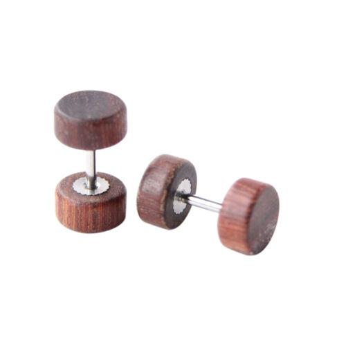 Vintage Wood Stainless Fake Cheater Ear Plugs Barbell Stud Earring Gauges HK