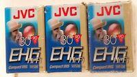 3- Jvc Tc-30 Ehg Hi-fi Vhsc Compact Vhs Tapes 90 Minute, Factory Sealed 1-3