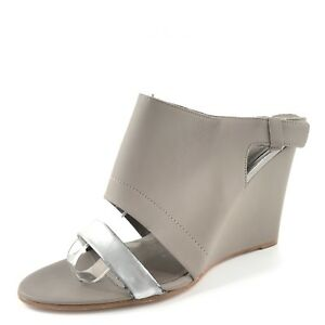 eea07a876b4 Image is loading VINCE-Kyra-Gray-Leather-Slingback-Sandal-Wedges-Women-