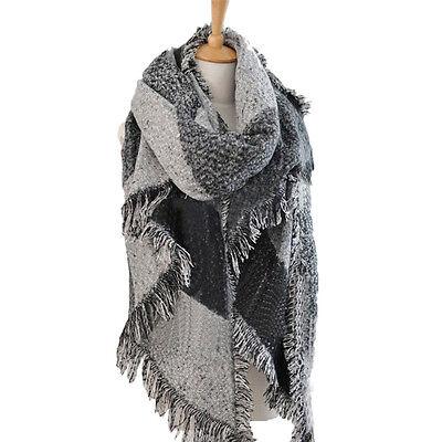 Warm Blanket Oversized Tartan Soft Cashmere Scarf Wrap Shawl Cozy Plaid Checked