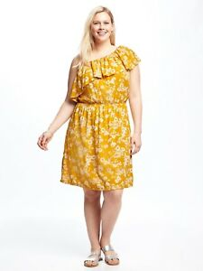 d2a2fb567ee3c OLD NAVY WOMEN 708041 ONE SHOULDER RUFFLE TIERED FLORAL DRESS PLUS ...