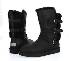 Womens UGG AUSTRALIA BECKET 225894 black trio leather sheepskin boots sz. 8