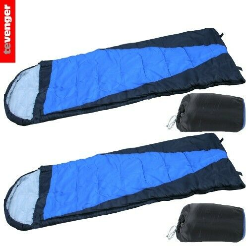 2 x Sleeping Bag Mummy Camping Outdoor 250 Gr 210x70 cm Anthracite Blue