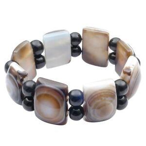 Armband-aus-echten-Augenachat-amp-Onyx-grau-braun-schwarz-Armschmuck-endlos-Unisex