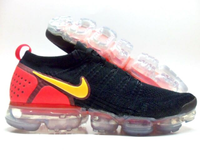 huge discount 61d06 4abc5 Nike Air Vapormax Flyknit 2 Black Laser Orange Red 942842-005 Men's Size 14