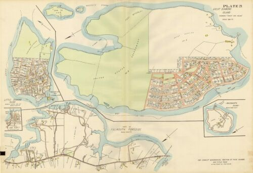 MAINE GREAT /& LITTLE DIAMOND ISLANDS FORT McKINLEY COPY ATLAS MAP 1914 PORTLAND