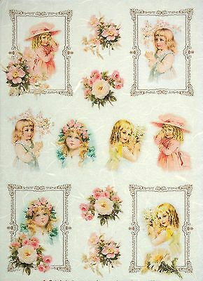 Rice Paper -Girls & Roses- for Decoupage Craft Sheet Vintage