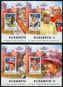 DJIBOUTI 2017 LONGEST REIGNING BRITISH MONARCH QUEEN ELLIZABETH II S/S'S MINT