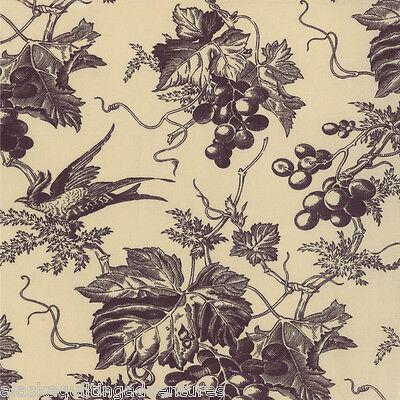 MODA Fabric ~ VIN DU JOUR ~ by 3 Sister's (44021 21) Linen/Grape - by 1/2 yard