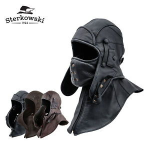 5dee57153 Details about Sterkowski SIBERIA Leather Aviator Cap with Mask Collar  Bomber Hat Trapper
